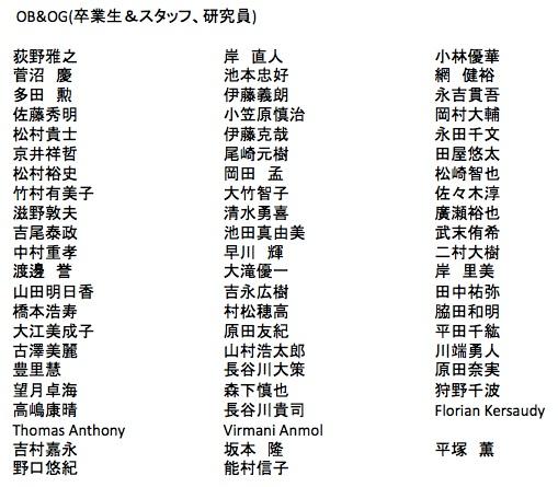 OB&OG(卒業生&スタッフ、研究員)